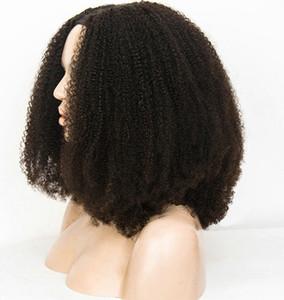 Dentelle pleine perruques de cheveux humains 4B 4C Afro Kinky bouclés perruques pour les femmes noires, brésilienne perruques de cheveux humains 130% (14 '' Afro kinky)