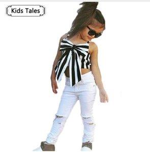 소녀 탑스와 바지를위한 옷 2 개 세트 리본이있는 짧은 소매 패션 바지 유럽 스타일 아동복 ST317