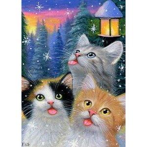 New cat diamond painting glue square Diamond Embroidery Full Paste Square Cross Stitch Home Decoration Paintings
