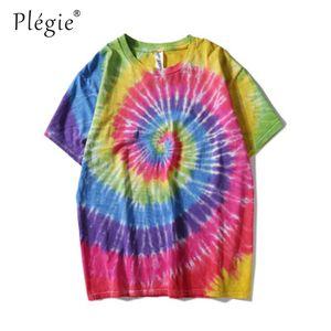 T-shirt Plegie Tie Dyeing Hip Hop Uomo Donna 2018 Girocollo Estate T-shirt uomo irregolare Tshirt in cotone 8 colori