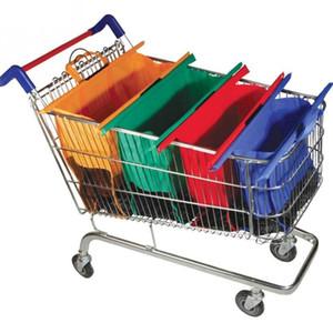Sacs à provisions d'épicerie de sac à provisions de supermarché de chariot à chariot Fourre-tout pliable qui respecte l'environnement met en sac 4pcs / ensemble de supermarché