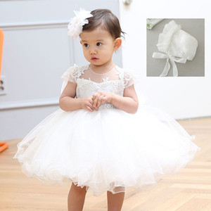 2018 Baby Girl Dress With Hat White 1 Year Old Birthday Party Formal Vestido Infantil Baptism Clothes Bautizo Vestido