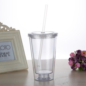 Mais barato!!! Clássico Isolado Tumblers copo de bebida fria 16 oz Duplo Parede de plástico copo claro tampa clara garrafa com Palha Reutilizável em estoque