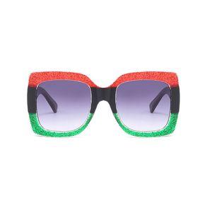 Marke Designer Square Sonnenbrille Rot Schwarz Grün Drei Farbverlauf Objektiv Steampunk Mode Sonnenbrille Shades übergroßen Brillen