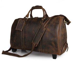 21 Maleta de maleta de cuero de lona enrollable Pulgada Carry Genuine Overnight Bag Bolsa de fin de semana Duffel en viaje BVQLN