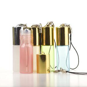 5ML Pendentif de Perles Huile Essentielle Roll On bouteille vide parfum rouleau à billes en métal Livraison gratuite Keychain Fioles LX3763