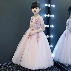 Lace Applique 3D Flower 1 2 Sleeves Pearl Cute Flower Girl Dresses Cutsom Made Kids Formal Wear