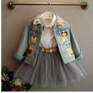 [Bosudhsou.] # J-3 Nouveau Printemps Automne Vêtements Enfants Vêtements Bébé Fille Manteau Manteaux Vestes Enfants Tops Jeans Wear Denim