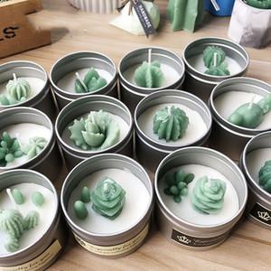 Plantas Suculentas de pequeno porte bolachinhas de Silicone bolor cacto DIY Aroma de gesso estuque Silicone bolor Moldes De Velas