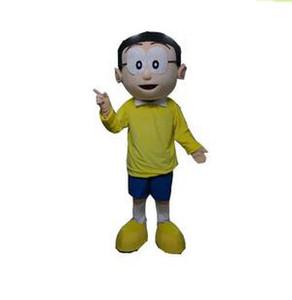 2018 High quality hot Nobita mascot costume Nobi Boy Mascot Costume Mascotte Spadger Doraemon Lad Adult With Big Glasses Smiling Face