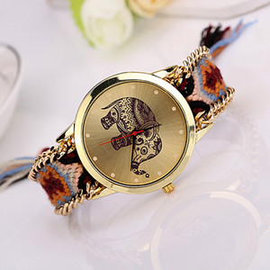 wengle New 2018 fashion sell like hot cakes folk-custom Woven Bracelets Korean version DIY Elephant Quartz watch