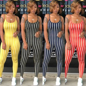Plus Size XXL Women Sexy Backless Bodysuit Spaghetti Strap Bodycon Slim Overalls Striped Elastic Fitness Rompers Womens Jumpsuit