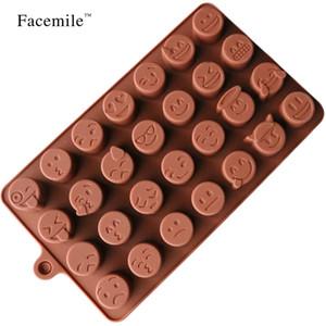 Facemile Emoji Chocolate molde de silicona para pastel galletas molde accesorios para hornear Fondant caramelo silicona DIY moldes