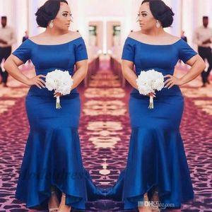 Abiti da sera blu royal con maniche corte con maniche di satin sirena drappeggiato abiti da sera per l'occasione speciale Celebrity Red Carpet abito da notte