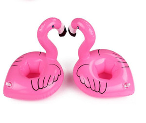 Inflatable Flamingo holder Drinking Botlle Holders Lovely Kids swim Pool Floats Bar Coasters Floatation Devices Children Bath Toy