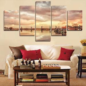 5 pannello di arte della parete casa moderna decorazione astratta della tela di canapa pittura retro città strada paesaggio immagini dipinti decorativi senza cornice