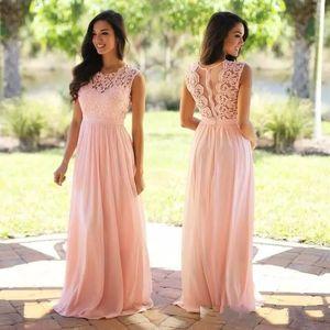 Pêssego rosa Lace Chiffon longos vestidos da dama 2020 barato Plus Size Vestidos dama de honra ver através Voltar Mint Borgonha dama de honra Vestidos