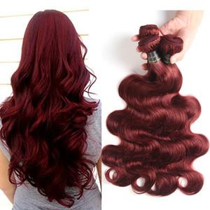 Malezya Bordo Brezilyalı Saç Örgü Demetleri Brezilyalı Bakire Saç Vücut Dalga 99J Kırmızı Renk İnsan Saç Uzantıları