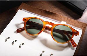 HOT-SALE Gregory peck VO5186 Gafas de sol polarizadas de calidad pura tablón muti-color gafas de sol unisex redondas 45-23-150 estuche completo