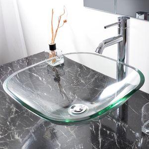 Gehärtetes Waschbecken aus gehärtetem Glas Waschraum natürliches klares Eitelkeits-Hotel-Becken