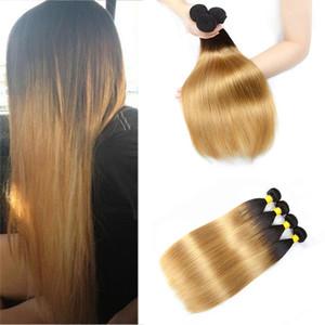 Бразильский ломбер блондинка прямые человеческие волосы 3/4 пучки цветные бразильские 1b / 27# блондинка прямые девственные волосы поставщиков ткать расширения