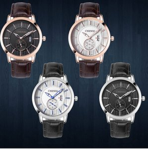 Wholesale sports men's watch waterproof calendar luminous quartz watch leather strap men's watch gift table