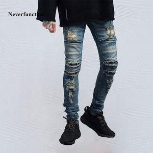 Neverfunction Erkekler slim fit Biker Jeans Hip hop Bağbozumu yok Kaya ripped Elastik Pamuk Motosiklet erkek kot pantolon pantolon
