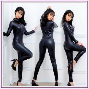Spandex Full Zentai Body à manches longues à manches longues Unitard Gymnastics Noir Adulte Brillant Faux Leather Catsuit Danse Wet Look