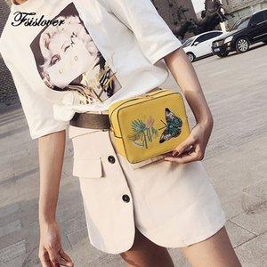 2018 Frauen Schmetterling bestickt Taille Tasche Luxus PU Leathe Gürteltasche Fanny Pack Taschen Damen Kette Crossbody Schulter Brust