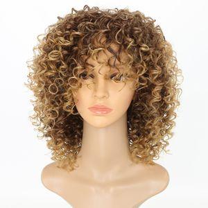 곱슬 곱슬 가발 흑인 여성 금발 합성 헤어 컬러 T27 / 30 금발 아프리카 가발 16 인치