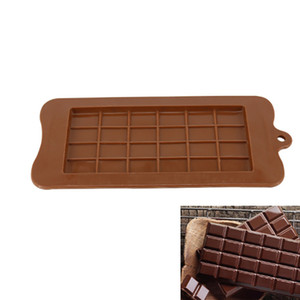 24 Cavity Mini Chocolate Bar Mold Brown Cake Silicone Molds 24 Holes Silicone Candy Mold For Baking Food Grade Chocolate Mold GJM57