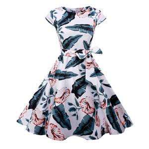 Saiqigui 2018 الصيف قصيرة الأكمام النساء اللباس خمر خط كبير تنحنح o طباعة هيبورن اللباس vestidos دي فيستا
