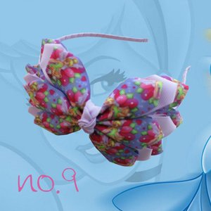 """Floral 14 pcs New Arrival Três Camadas Personagens Princesa Fitas de Impressão Floral Headwear 4 .5-5 """"Asa do Anjo Arco Mão Moda Hairbands"""