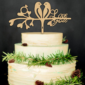 8 Styles Wood Cake Topper For wedding Funny Love Bird Cake Topper figurine personalize wed cake topper Decoration