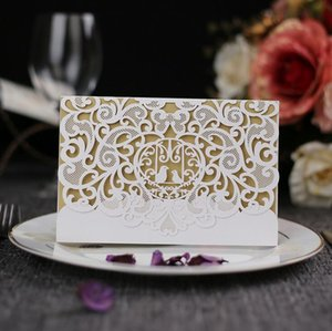 Elegant Laser Cut Hollow Flower Wedding Invitations Cards with Crystal 2018 navy blue ivory personalized Bridal Invitation Card Cheap