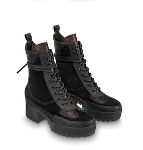 Yüksek topuklu Martin çizmeler ile kış yeni kısa çizmeler deri platformu kalın tabanlı lokomotif botlar kadın Combat + kutu