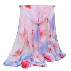 Мода длинный шарф женские цветочные негабаритных шарфы Шаль шифон шарф Роза шарфы женские платки 155*50 см