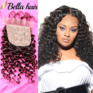 Bella Hair® Silk Basis Schließung julienchina Haarteil 100 Rohboden brasilianische Jungfrau-Menschenhaar Closure Natürliche Curly Silk Basis Top Verschlüsse