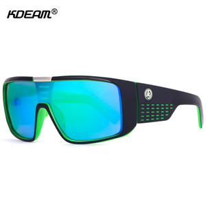 KDEAM Oversized Shield  Sunglasses Men Single Lens Steampunk Goggles Surfing Glasses With Designer Box KD999 CE