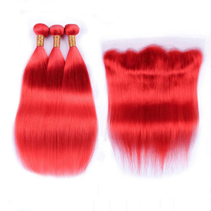 Virgin Brazilian Pure Red Human Hair Weaves with Frontal Closure Silky Straight Colored Red Full Lace Frontal 13x4 with 3 Bundles Deals