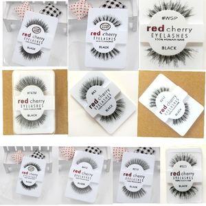 Factory price red cherry handmade Natural false eyelashes Beauty Sale Makeup Long Fake Eye Lashes