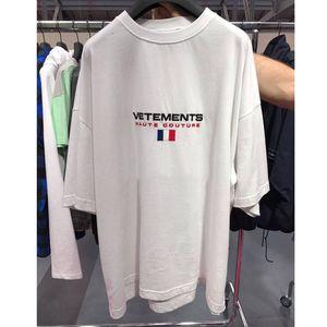 Stickerei Kurzarm Vetements T Shirts Frauen Männer Beste Qualität Frankreich Flagge Hiphop Top Tees Vetements T-shirt