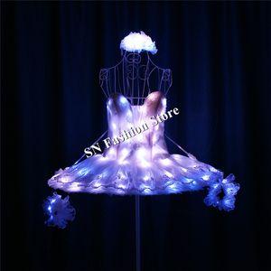 TC-190 Programmable led ballet saia trajes de luz de cor cheia RGB dance ballroom stage stage modelo dj desgasta o desempenho de roupas