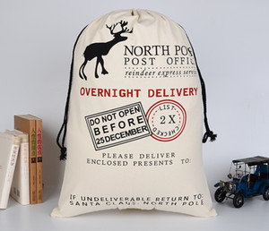 Bolsas de regalo de Navidad Año Nuevo medias de la vendimia rústico del caramelo bolsa de Santa Claus saco de la lona del lazo de vajilla Bolsa de regalo