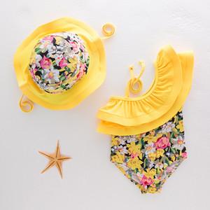 Kinder Badeanzug 2018 INS Neuankömmlinge heißer Verkauf Mädchen Kinder Bikini Sommer Lotus Leaf Kragen kleine Blumen gedruckt One-Pieces Bikini + Badekappen