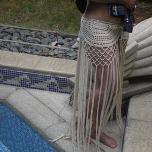 Jupe gypsy, crochet, pompon, à longue frange. Tiré d'un motif original des années soixante-dix. Jupe de bain Boho Festival. Jupe végétalienne
