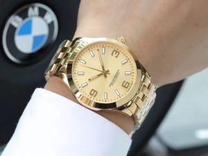 Stahl 18K Gelb Gold blau weiß Zifferblatt Automatische Bewegung oben gut Gold Edelstahl Gelb Gold Luxus Herrenuhren Mode Wathces