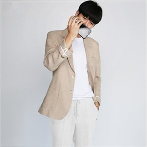 Simple Men Blazer Casual Loose Baggy Blazer Mens Cotton And Linen Summer Breathable Thin Homme Big Size 3XL DS5012