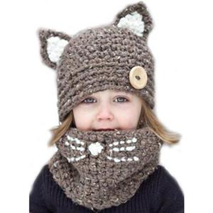 الشتاء الدافئ الاطفال قبعات نفس اللون محبوك الأوشحة القط تصميم التسوق عبر الانترنت 4 طفلة لطيف قبعة وشاح مجموعة 18101001