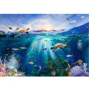 Sotto il mondo del mare Sfondo Fotografia Stampato Alba Tartarughe Pesci Fantasia Paesaggio subacqueo Kids Party Tema Photo Booth Background